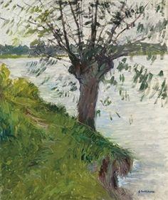 Saule au bord de la rivière By Gustave Caillebotte ,1891