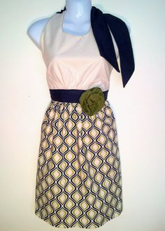 Full Apron  Dinner Date  Blue and Green Retro by ChicChefBoutique, $35.00