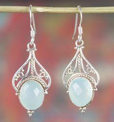 Chalcedon - Facet Aqua Chalcedony Gemstone Silver Earring - Een uniek product van Midas-Jewelry op DaWanda