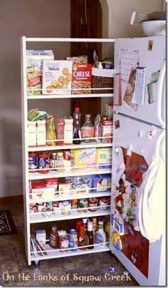 DIY, do it yourself, pull-out pantry, pantry on wheels, narrow pantry next to fridge, food storage, kitchen storage, custom pantry, pantry on casters