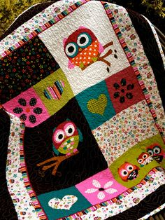 Hoot the Owl Baby or Toddler Quilt
