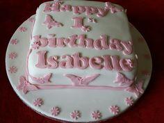 Pretty first birthday cake I made