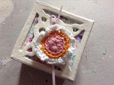 Cream decopatch trinket box with crochet flower brooch. £4.00