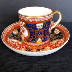Spode Coffee Can & Saucer, Dollar Pattern, Antique English Imari, c1805