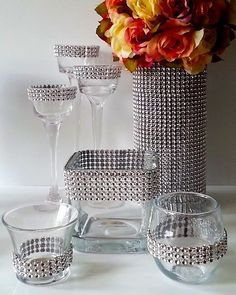 We sell the Bling Wrap to Decorate - Vases, Votive Candles - Wedding Ceremony, Bouquet Holders. Bling Wedding, Wedding Centerpieces, Diy Wedding, Wedding Reception, Wedding Decorations, Bling Centerpiece, Candles Wedding, Wedding Ideas, Centrepieces