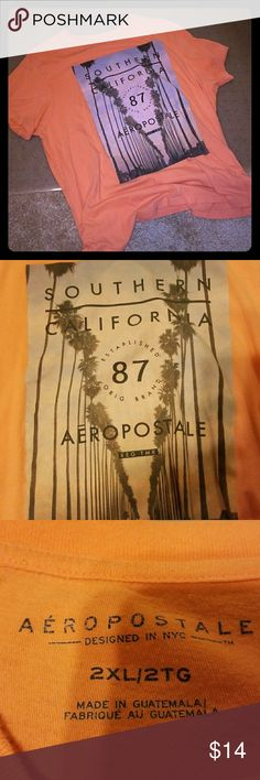 Men's Aeropostale Tee Peach Aeropostale Men's Tee with Southern California Design on front. Gently used. No stains or holes. Aeropostale Shirts Tees - Short Sleeve