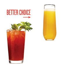 Instead of a Bloody Mary, Sip a Bubbly Mimosa by cookinglight: Small exchanges can help you lose weight. A Bloody Mary contains two shots of vodka—the main source of calories—and four-digit sodium numbers. The mimosa also comes in a sleek glass. Healthy Facts, Healthy Eating Recipes, Healthy Cooking, Diet Recipes, Healthy Food, Healthy Tips, Healthy Meals, Easy Recipes, 100 Calories