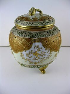 Nippon Gold Encrusted Biscuit Jar with Jeweled Drops circa. Early via Etsy. Japanese Porcelain, China Porcelain, Antique China, Vintage China, Tea Biscuits, Pickle Jars, Biscuit Cookies, Cookie Jars, Glass Jars