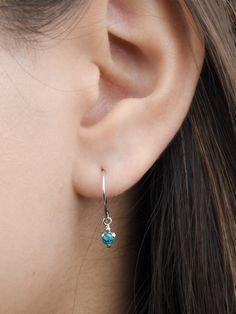 Dainty Turquoise Drop Earrings Sterling Silver & by lunaijewelry