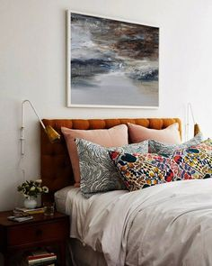 vintage bedroom decor, eclectic bedroom decor with velvet headboard and boho floral pillows, colorful bedroom design ideas Welcome to my shop.To see details of the painting, please click Dream Bedroom, Home Bedroom, Modern Bedroom, Bedroom Ideas, Eclectic Bedrooms, Contemporary Bedroom, Bedroom Designs, Artistic Bedroom, Bedroom 2018