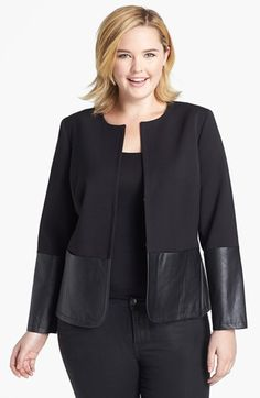 Anne Klein Faux Leather Trim Jacket (Plus Size) - Women Style Ideas Office Look Women, Office Outfits Women, Fall Outfits For Work, Anne Klein, Nordstrom Coats, Moda Xl, Dress With Jean Jacket, Business Professional Attire, Diy Summer Clothes