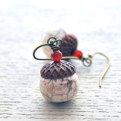 White Acorn Earrings Stone Bead Earrings Fall Jewelry by bstrung, $26.00