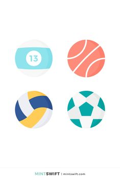 Vector Illustrations, Vector Art, Graphic Design Tutorials, Design Projects, Volleyball, Basketball, Web Design Packages, Number 13, Flat Design Illustration