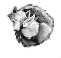 Wolf loup lapin rabbit love calin dort by Grafik dizayn Lafont Bunny Tattoos, Rabbit Tattoos, Wolf Tattoos, Rabbit Drawing, Rabbit Art, Crow Spirit Animal, Rabbit Wallpaper, Dibujos Tumblr A Color, Wolf Illustration