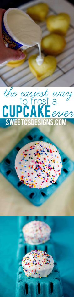 The easiest way to frost a cupcake, EVER! This is such a genius tip! Get a fondant look by pouring store bought icing on cupcakes they turn out like fancy little cakes and it only takes a few minutes to do a whole