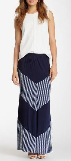 Bobeau Colorblock Striped Maxi Skirt