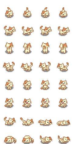 Neko Atsume Final Fantasy replacements by How To Pixel Art, Sprites, Pixel Drawing, Pix Art, Pixel Characters, Pixel Animation, Arte Cyberpunk, Pixel Design, Pixel Art Games