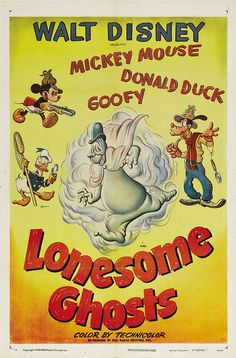 Theatrical poster of Donald Duck, Mickey Mouse and Goofy in Lonesome Ghosts.