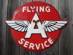 Vintage Flying A Porcelain Sign (Antique 1930 Gas Service Station Gasoline Advertising Sign)