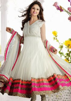 #Glitterous #Anarkali Churidar #Design In Off #White Color   @ $238.69