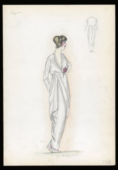 Dress sketch | House of Paquin | 1913 | Henri Bendel Fashion & Costume Sketch Collection | Brooklyn Museum | Call #: SC01.1 BENDEL