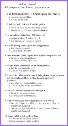 Zullen? Zouden? - Welke zin past het best; Kies het correcte antwoord. & OPLOSSINGEN : 1b, 2a, 3a, 4b, 5a, 6b, 7b, 8a, 9b, 10b & https://www.coutinho.nl/non/hotpot/H5_oefening1.htm