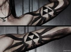 Zelda Triforce tattoo. Love the charcoal look effect.