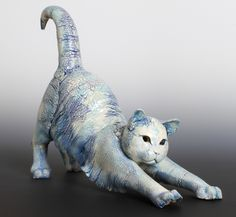 Ceramic sculpture by artist Annie Peaker Ceramic Sculpture, Animal Art, Animal Sculptures, Ceramics, Cat Art, Clay Cats, Art, Art Market, Pottery Animals