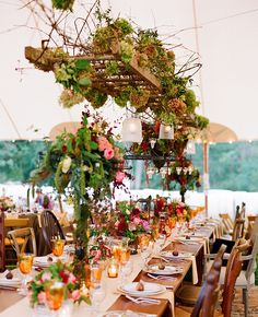 Hydrangea, vines & tea lights hung from a rustic ladder... hanging reception flowers | Jen Fariello Photography | blog.theknot.com
