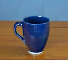 Blue Coffee Cup Hand Thrown Porcelain Pottery by CaldwellPottery