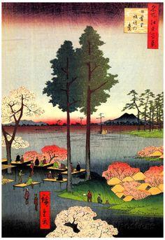 Utagawa Hiroshige Suwa Bluff in Nippori Art Print Poster Affiches sur AllPosters.fr