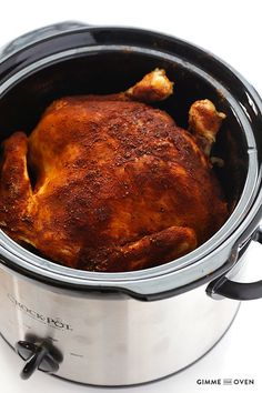 There's a bird in my slow cooker! Yes, make that an entire roasting chicken tucked right in there, seasoned perfectly to taste like it's fresh off the rotisserie. I have to admit that the idea to cook a whole chicken in the slow cooker had never occurred to me before. But while I was standing in the poultry section …:
