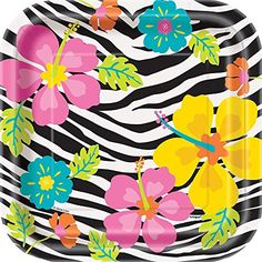 Square Wild Luau Dessert Plates 10ct ** Learn more by visiting the image link. (This is an affiliate link)