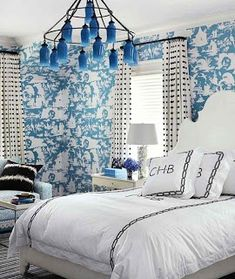 Blue and white Chinoiserie bedroom by Pat Healing, House Beautiful (Quadrille Paradise Background wallpaper)