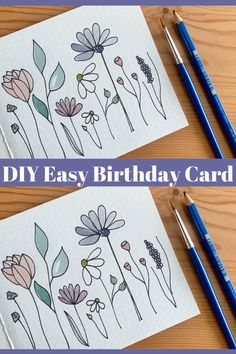 DIY Easy Birthday Card // Simple Flower Drawing & Watercolor Project for Beginners In this video, I show step-by-step how I draw and watercolor these simple . Watercolor Birthday Cards, Birthday Card Drawing, Birthday Card Design, Watercolor Cards, Drawn Birthday Cards, Watercolor Art Lessons, Watercolor Projects, Watercolor Trees, Watercolor Portraits