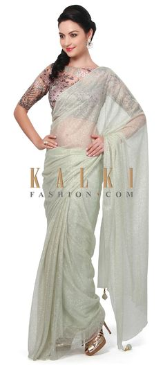 Buy Online from the link below. We ship worldwide (Free Shipping over US$100). Product SKU - 315470.Product Link - http://www.kalkifashion.com/pista-green-saree-matched-with-resham-embroidered-blouse-only-on-kalki.html