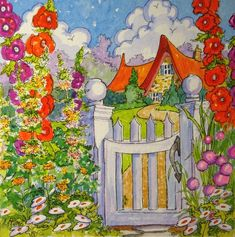 """Daily Paintworks - """"The Cottage Gate Storybook Cottage Series"""" - Original Fine Art for Sale - © Alida Akers Cute Cottage, Cottage Art, Watercolor Cards, Watercolor Paintings, Storybook Cottage, Whimsical Art, Fine Art Gallery, Original Art, Illustration Art"""