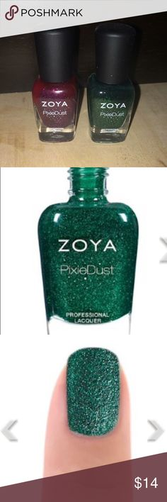 Zoya Minis: Elphie and Lorna| 5-free Nail Lacquer Zoya mini nail professional pixie dust lacquers in shades Elphie and Lorna. Each used once to swatch. 0.25 fl oz bottles each.  Zoya is a 5-free polish: free of toluene, camphor, formaldehyde, formaldehyde resin and DBP chemicals. Zoya Makeup