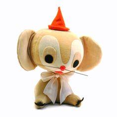 Stuffed Party Mouse, Vintage 1950s Dakin Dream Pets Velveteen & Felt Stuffie via blissandvinegar on etsy