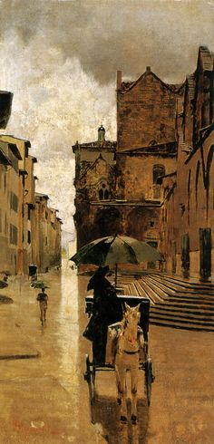 Telemaco Signorini - Via de'Malcontenti, painting from 1900 , italy Soyouthinkyoucansee-Via contenti Italian Paintings, European Paintings, Great Paintings, Urban Painting, Painting & Drawing, Italy Landscape, Cityscape Art, Italian Artist, Urban Art