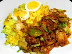 Saffron rice with stir fry Brussel sprout minced beef.