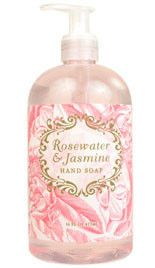 Rosewater Jasmine Shea Butter Liquid Soap by Greenwich Bay Trading Company. Luxurious spa liquid hand soap enriched with shea butter, cocoa butter, jasmine oil & natural extracts in fresh botanical scents.