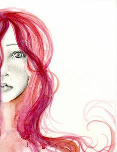 Acquerello pittura Fine Art Giclee Print del mio originale acquerello dipinto ritratto bellissimo viso donne Home Decor parete arte astratta