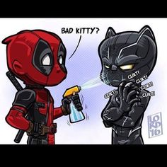 "Why Deadpool has to make an appearance in an Avengers movie! - Lordmesa Art — ""Bad Kitty"" L That's not how you beat. Deadpool Und Spiderman, Deadpool Funny, Marvel Funny, Marvel Memes, Deadpool Images, Deadpool Chibi, Deadpool Hoodie, Deadpool Quotes, Deadpool Tattoo"