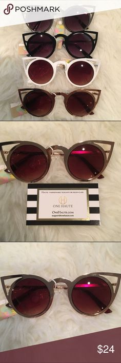 Angled catty glasses - NWT - 4 colors! UV 400 Protection.  Choose from 4 colors.  They will come with a nice black poly case to store them in to prevent scratches. One haute Accessories Sunglasses