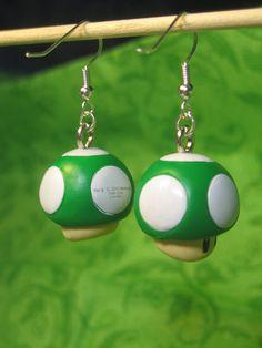 Super Mario Earrings - Green 1 Up Mushroom $6
