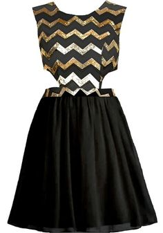 Chevron Shocker Dress: Features a silky black foundation with glittering gold chevron lines to the bodice, cute side cutouts for subtle exposure, exposed rear zip closure, and a super girly fit-and-flare skirt to finish.