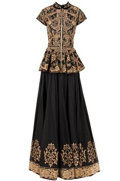 J By Jannat Black and gold peplum lehenga set available only at Pernia's Pop-Up Shop.