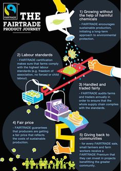 Infographic The Fairtrade Journey! This is information on what makes a product fair trade and shows it's journey too you. Helps out people who don't know what fair trade is!