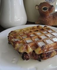 Cinnamon Roll Waffles w/ Cream Cheese Syrup